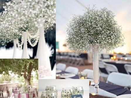 Trang trí tiệc cưới lung linh với hoa baby