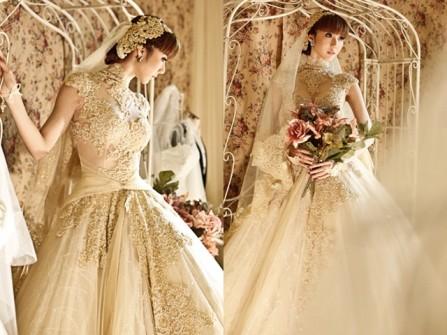 Những mẫu áo cưới vàng ánh kim cho mùa thu