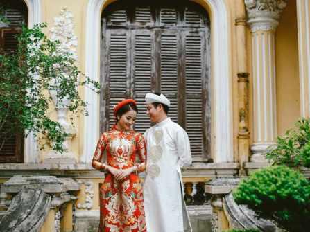 Mẹo chọn màu áo dài cưới duyên dáng và thanh lịch