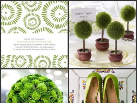 Theme cưới màu xanh lá cây dịu mát