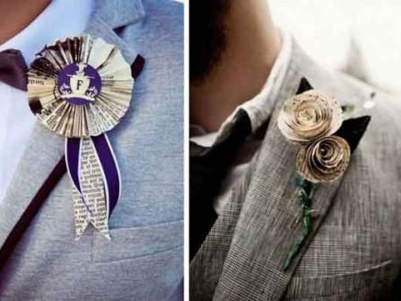 Hoa cài áo chú rể làm từ chất liệu giấy báo