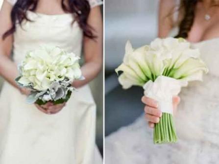 Hoa cưới cầm tay được kết từ hoa loa kèn trắng