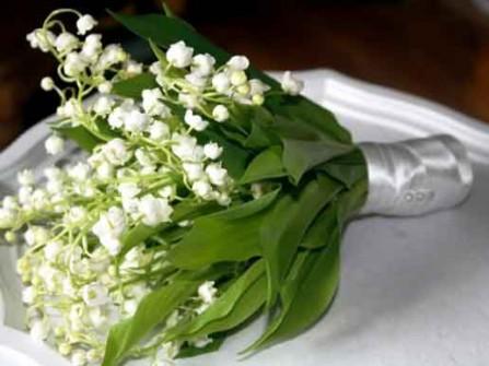 Hoa cưới cầm tay kết từ hoa linh lan trắng