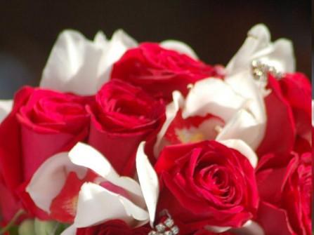 Hoa cưới cầm tay màu đỏ kết từ hoa lan, hoa hồng đính đá