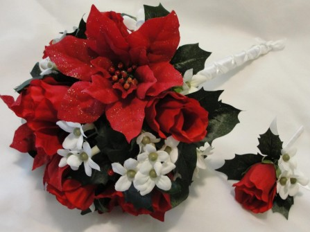 Hoa cưới cầm tay được kết từ hoa trạng nguyên bằng vải
