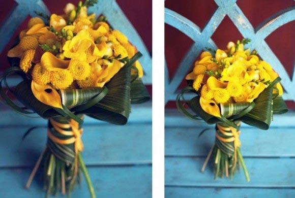 Hoa cưới cầm tay màu vàng kết từ hoa loa kèn