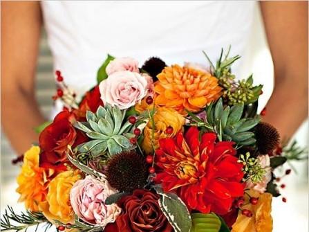 Hoa cưới cầm tay màu cam kết từ hoa thược dược