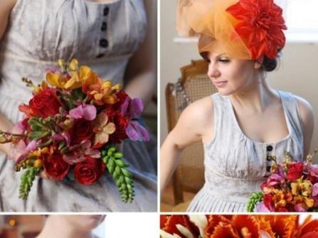 Hoa cưới cầm tay màu cam kết từ hoa sen đá