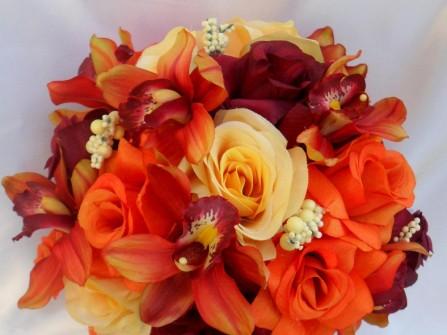 Hoa cưới cầm tay màu cam kết từ hoa địa lan