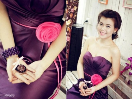 Váy phụ dâu màu tím than, cúp ngực