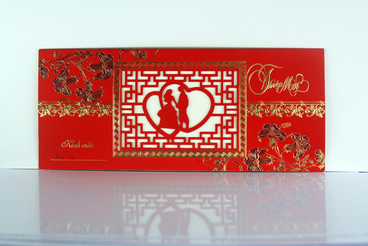 Thiệp cưới đẹp màu đỏ kết hợp hai phong cách