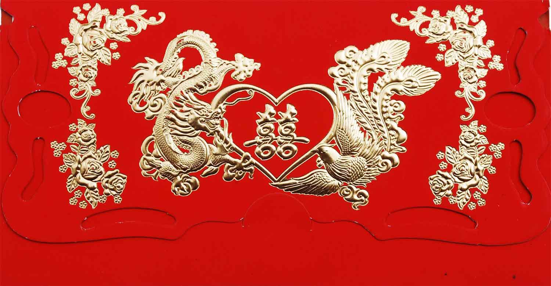 Thiệp cưới đẹp màu đỏ long phụng nhũ vàng