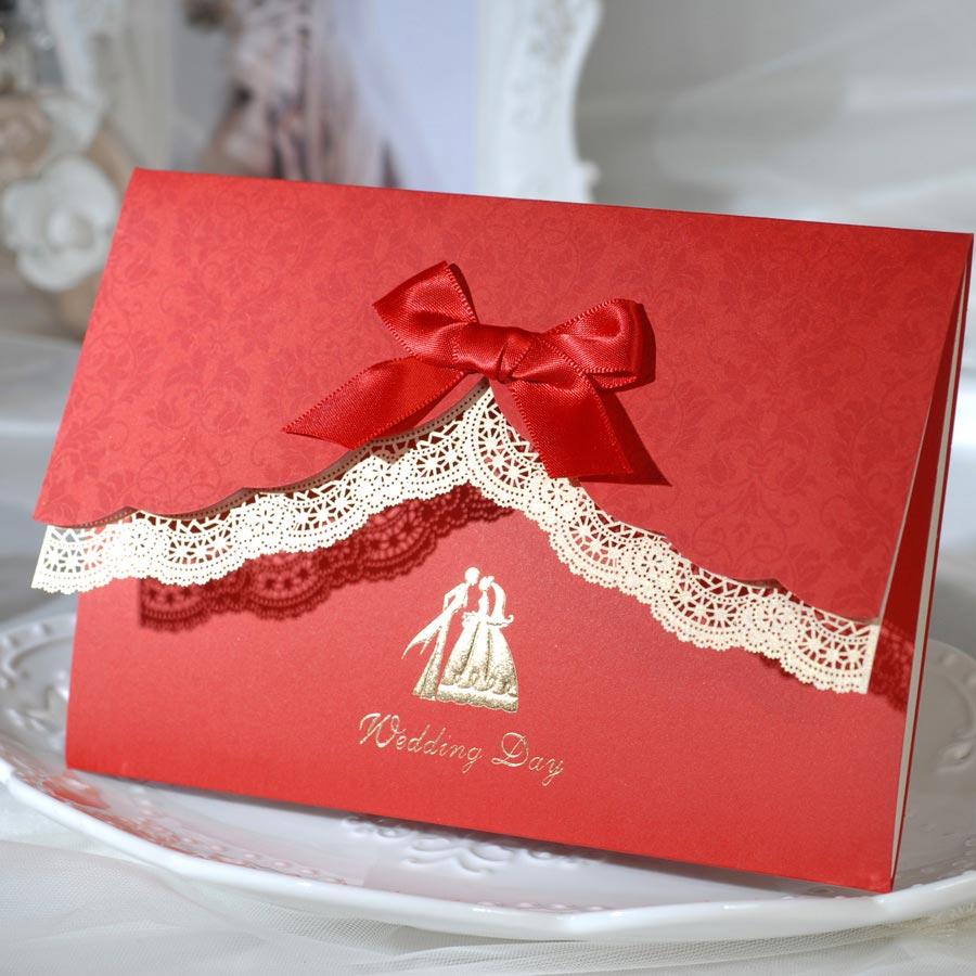 Thiệp cưới đẹp màu đỏ viền ren thắt nơ