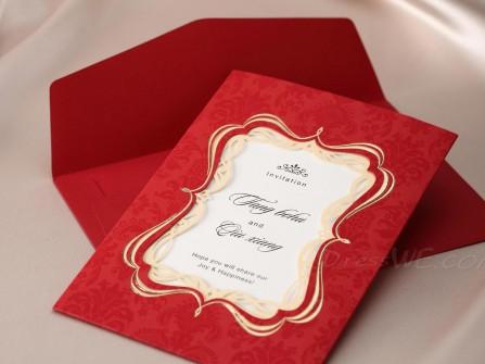 Thiệp cưới đẹp màu đỏ, khung viền nhũ vàng