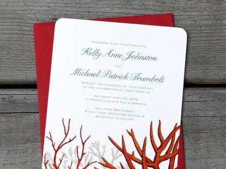 Thiệp cưới đẹp màu đỏ phong cách biển