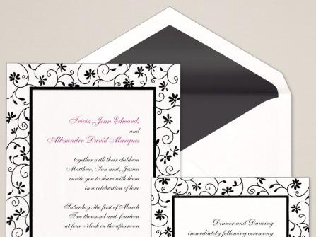 Thiệp cưới đẹp màu trắng hoa văn đen