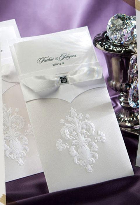 Thiệp cưới đẹp màu trắng hoa văn vector in nổi