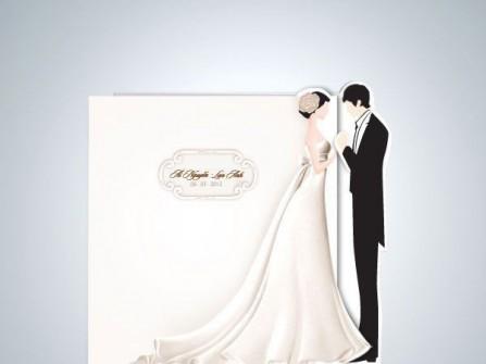 Thiệp cưới đẹp màu trắng hình cô dâu chú rể