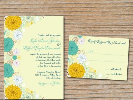 Thiệp cưới đẹp màu vàng họa tiết hoa cúc