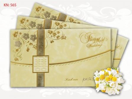 Thiệp cưới đẹp màu vàng dạng gấp
