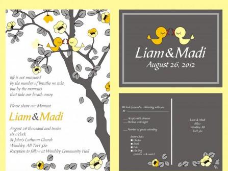 Thiệp cưới đẹp màu vàng hình đôi chim non