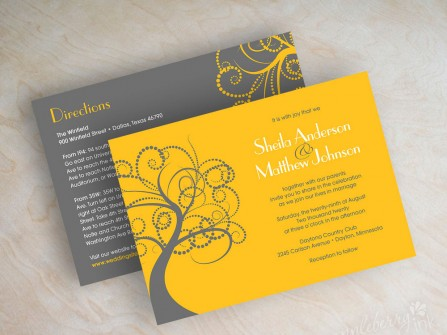 Thiệp cưới đẹp màu vàng phối xám, hoa văn hiện đại