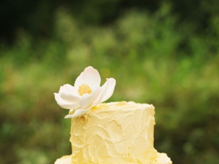 Bánh cưới màu vàng hai tầng nhỏ xinh