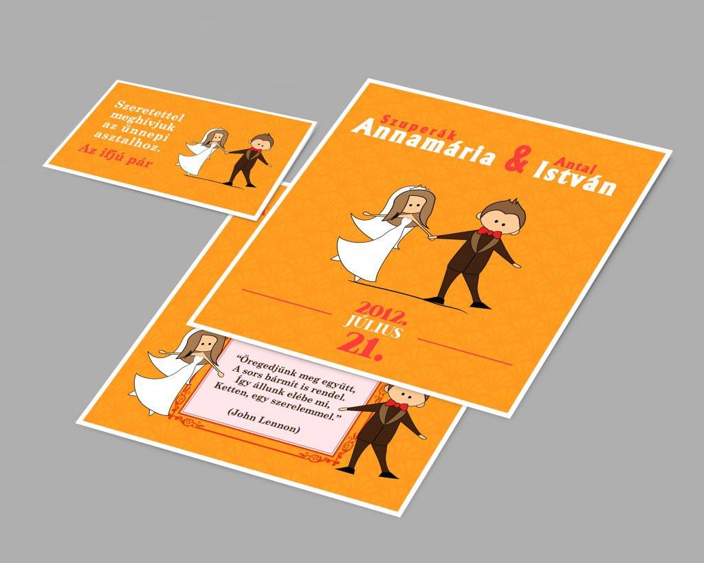 Thiệp cưới đẹp màu cam phong cách vẽ tranh