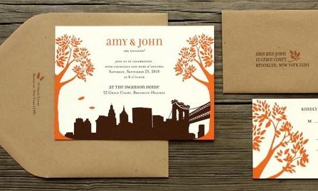 Thiệp cưới đẹp màu cam họa tiết thành thị