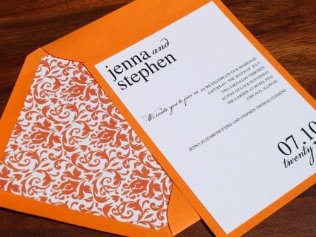 Thiệp cưới đẹp màu cam phong cách hiện đại