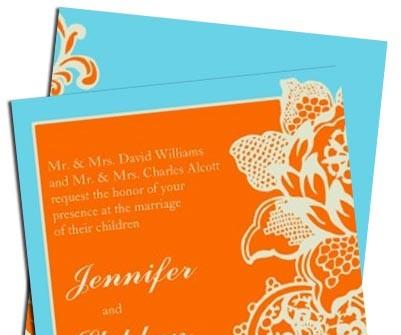 Thiệp cưới đẹp màu cam phối xanh biển