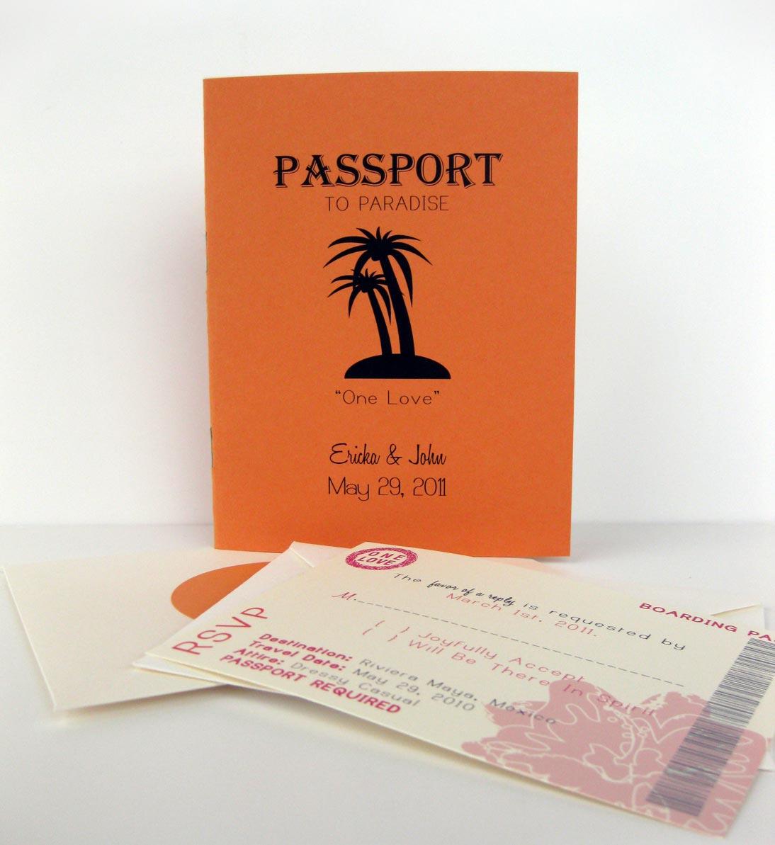 Thiệp cưới đẹp màu cam kiểu passport