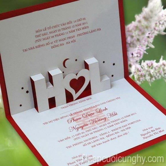 Thiệp cưới đẹp màu đỏ phong cách chữ nổi 3D