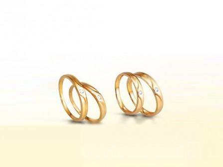Nhẫn cưới vàng đính đá nhỏ