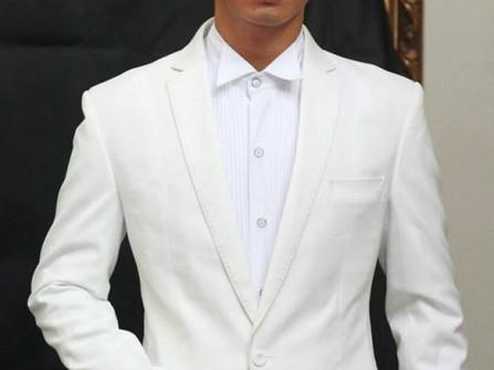 Vest cưới trắng một nút cài cổ điển ve áo cách điệu