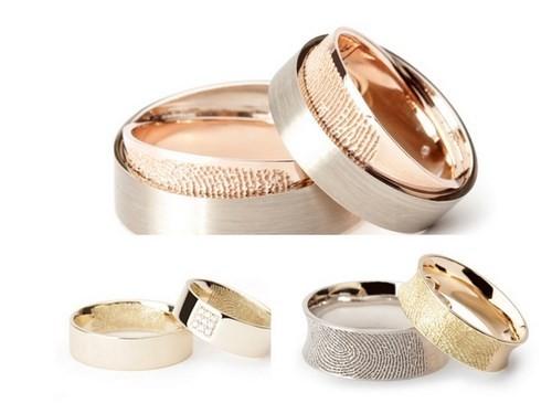 Nhẫn cưới khắc vân tay với chất liệu pha trộn