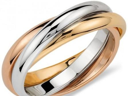 Nhẫn cưới vàng lồng ghép đan chéo