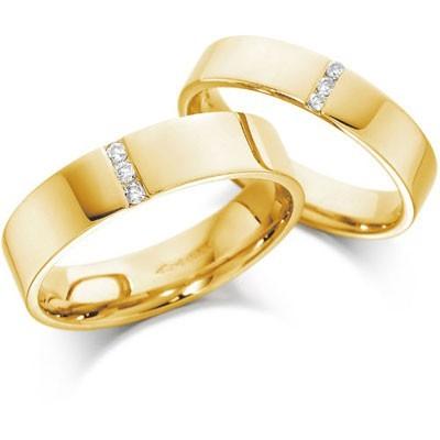 Nhẫn cưới vàng trơn đính dãy đá nhỏ