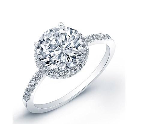 Nhẫn đính hôn vàng trắng mặt đá tròn
