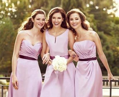 Váy phụ dâu ngắn màu tím pastel