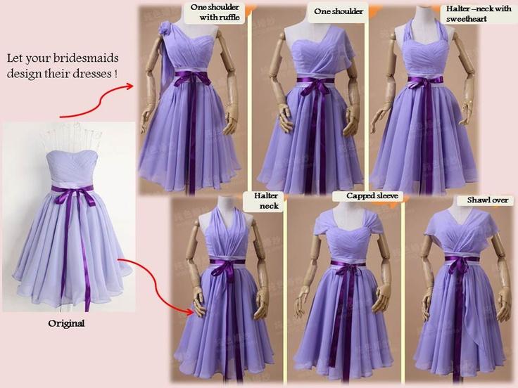 Váy phụ dâu màu tím biến tấu sinh động