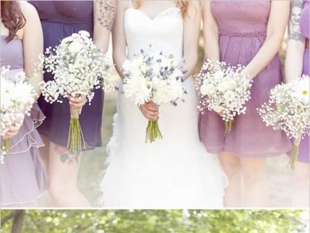 Váy phụ dâu màu tím pastel