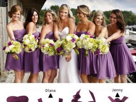 Váy phụ dâu màu tím than sẫm
