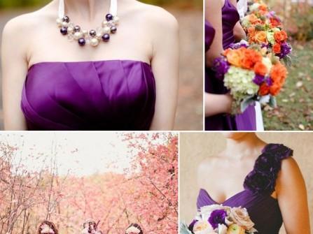 Váy phụ dâu màu tím và cách kết hợp màu sắc