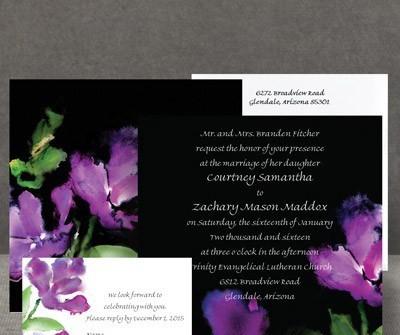 Thiệp cưới đẹp màu đen in hoa nghệ thuật