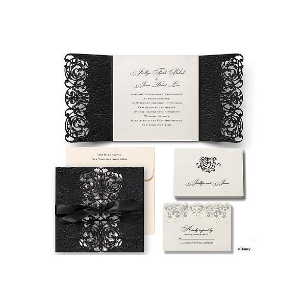 Thiệp cưới đẹp màu đen hoa văn cầu kì
