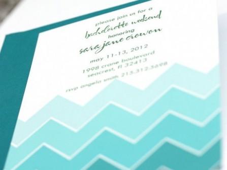 Thiệp cưới đẹp màu xanh dương họa tiết sóng biển