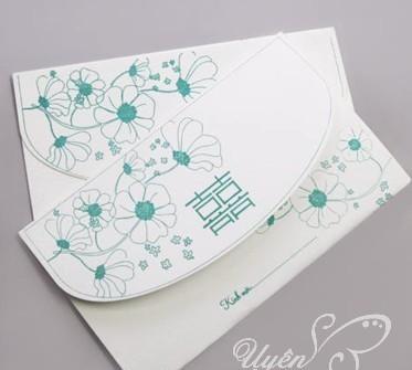 Thiệp cưới đẹp màu xanh dương in chữ song hỷ cách điệu
