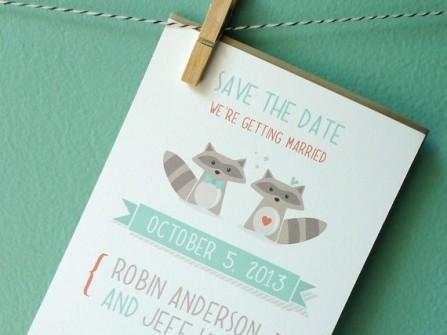 Thiệp cưới đẹp màu xanh dương hình vẽ dễ thương