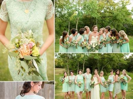 Váy phụ dâu màu xanh lá chất ren lạ mắt